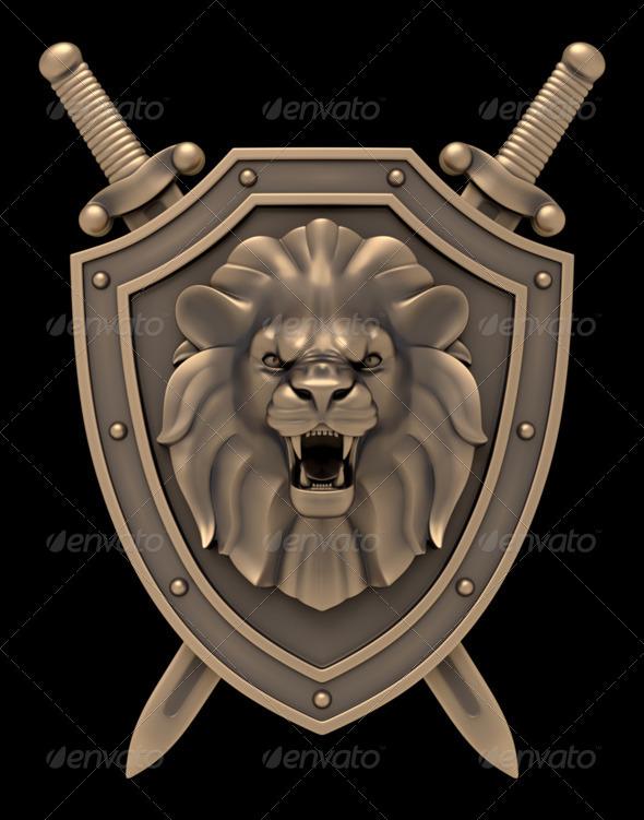 GraphicRiver Lion s Head Blazon 7795251