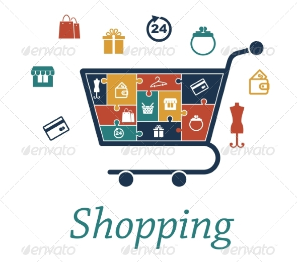 GraphicRiver Shopping Concept Puzzles with a Cart and Icons 7795338