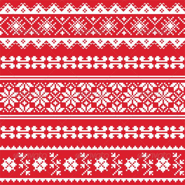 GraphicRiver Red Folk Pattern 7795785