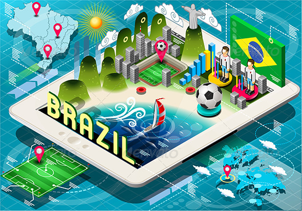 GraphicRiver Isometric Infographic of Brazil on Tablet 7795894