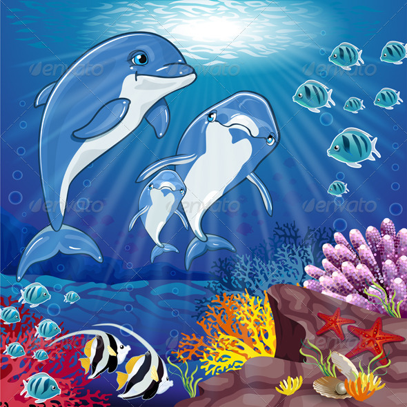 GraphicRiver Dolphins on the Bottom of the Sea 7795902