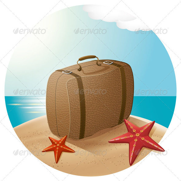 GraphicRiver Suitcase At The Sea Beach 7796017