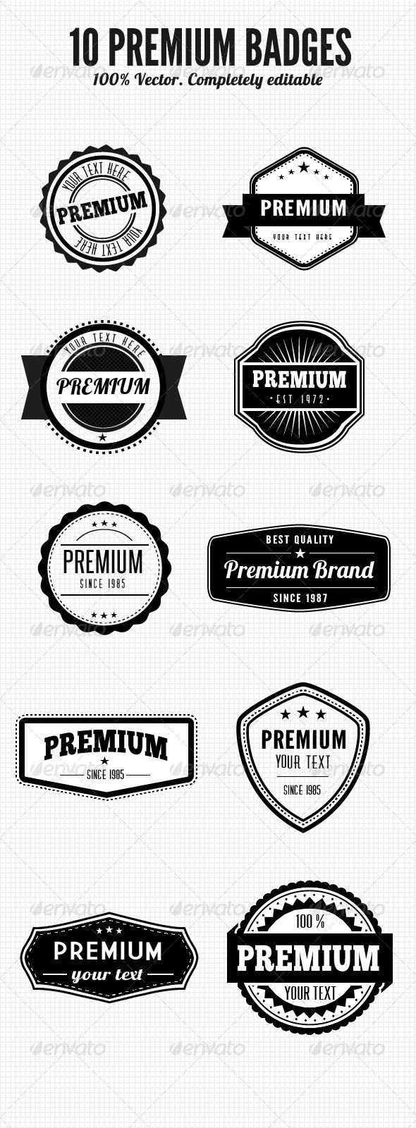 GraphicRiver 10 Premium Retro Badges 7779761