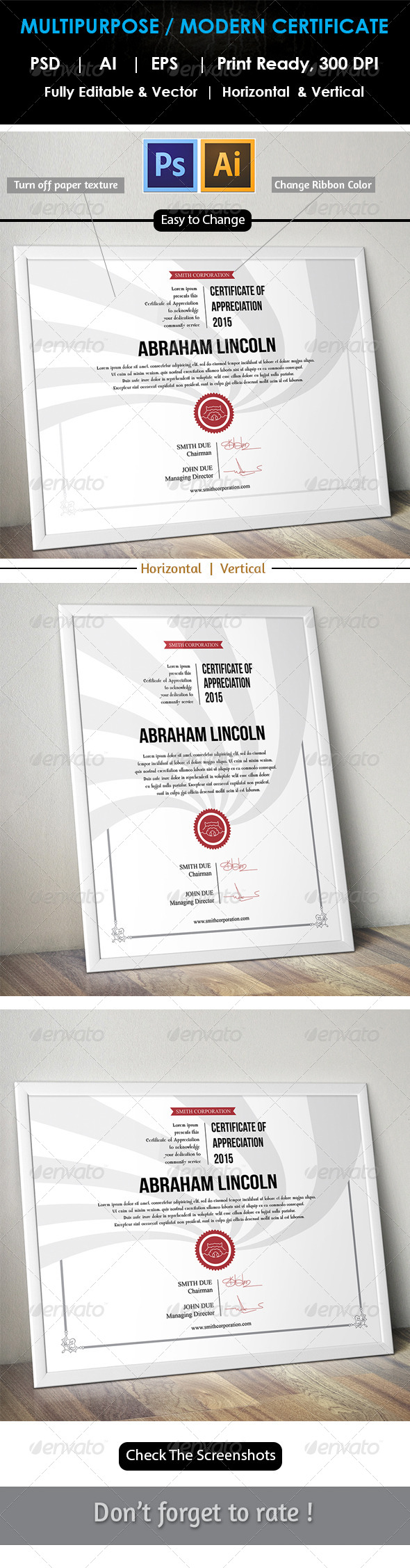 GraphicRiver Easy Simple Multipurpose Certificate GD007 7798999