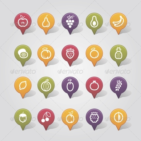 GraphicRiver Fruits Mapping Pins Icons 7799095
