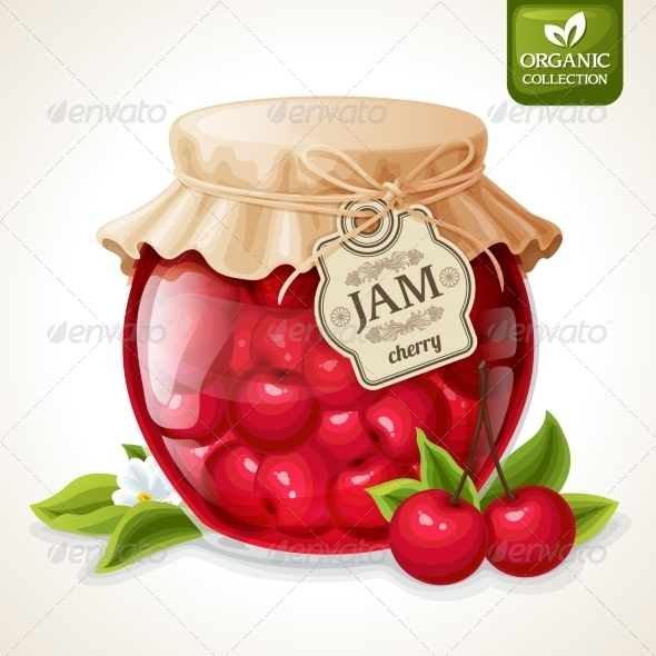 GraphicRiver Cherry Jam Jar 7799381