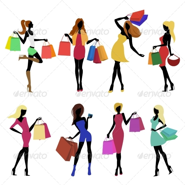 GraphicRiver Shopping Girl Silhouettes 7799538
