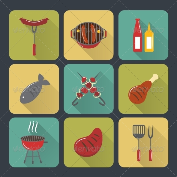 GraphicRiver BBQ Grill Icons Flat Set 7799566