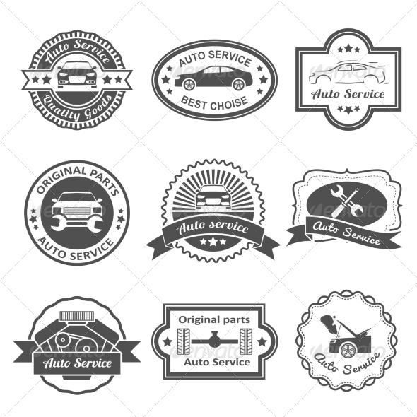 GraphicRiver Auto Service Labels 7799576