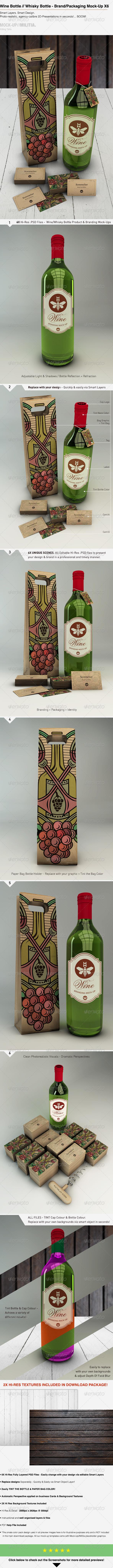 GraphicRiver Wine Whisky Bottle Branding Packaging Mock-Up 7802223