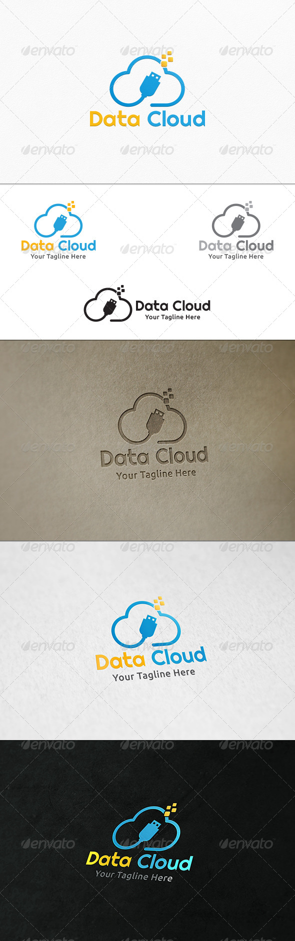 GraphicRiver Data Cloud Logo Template 7806687