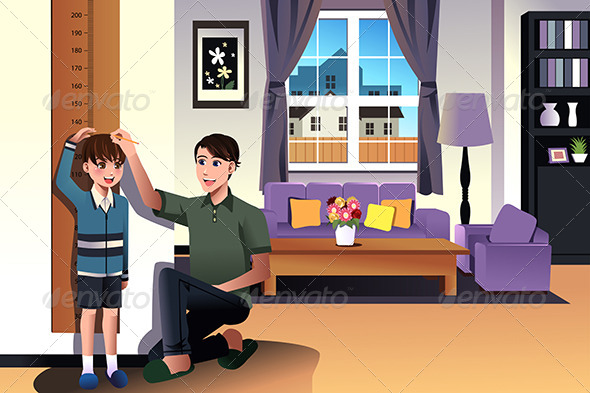 GraphicRiver Father Measuring his Son s Height 7809427