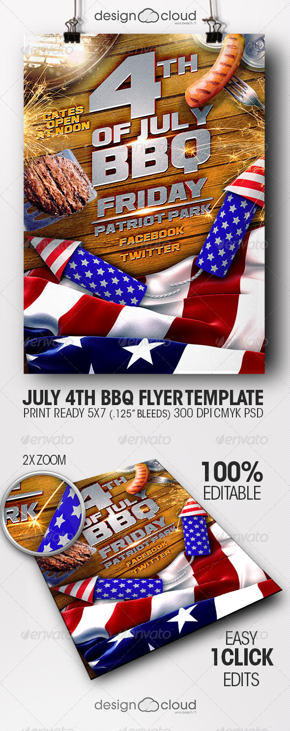 GraphicRiver July 4th BBQ Flyer Template 7809844