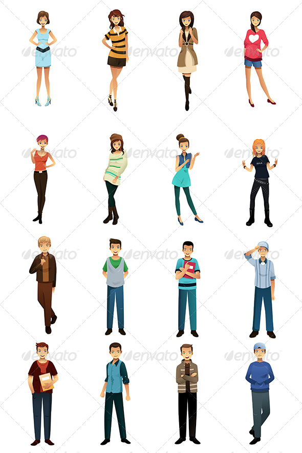 GraphicRiver Teenagers in Different Styles and Poses 7810085
