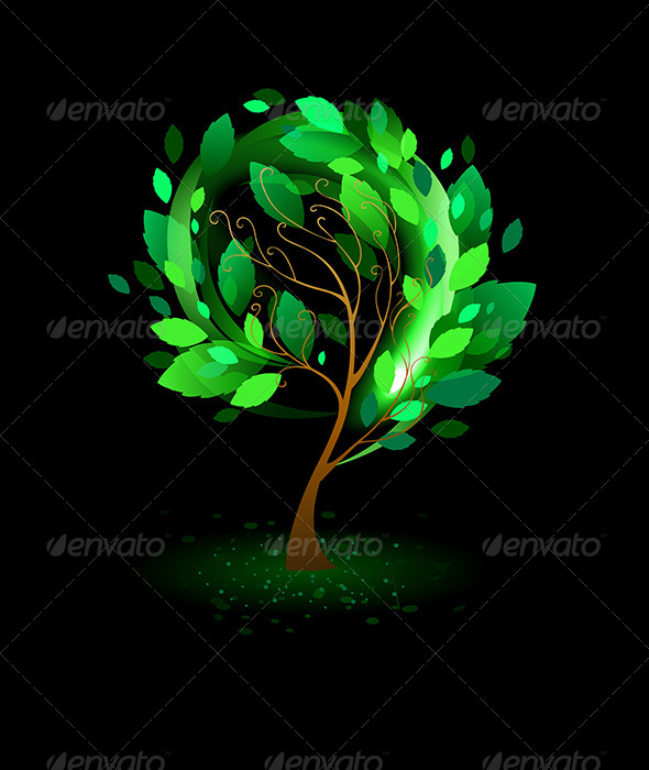 GraphicRiver Green Tree on Black Background 7811124