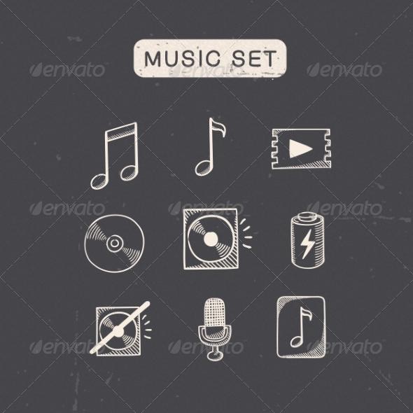 GraphicRiver Music Media Audio Symbols Set 7814250