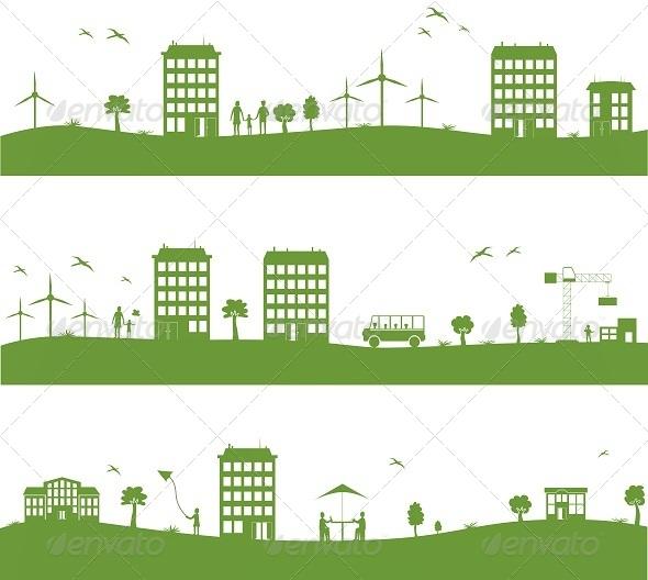 GraphicRiver City with Cartoon Houses 7814401