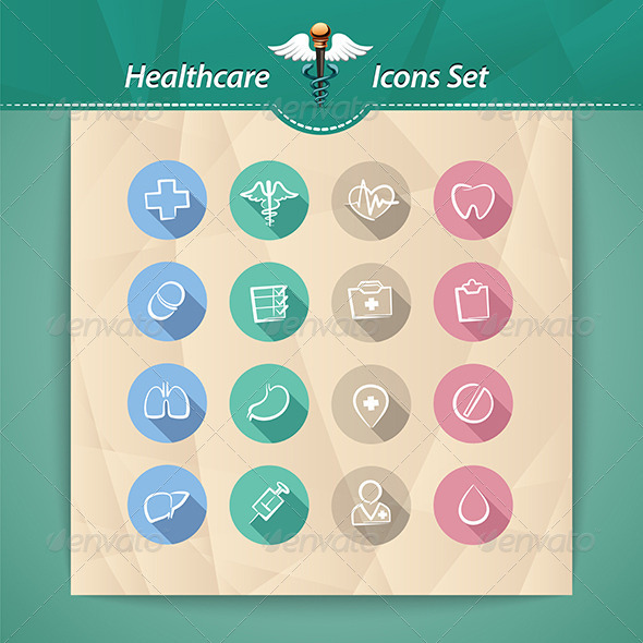 GraphicRiver Healthcare Flat Icons Set 7804504