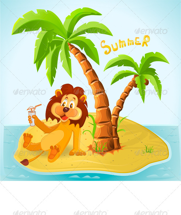 GraphicRiver Cartoon Lion Resting on the Island in the Summer 7814425