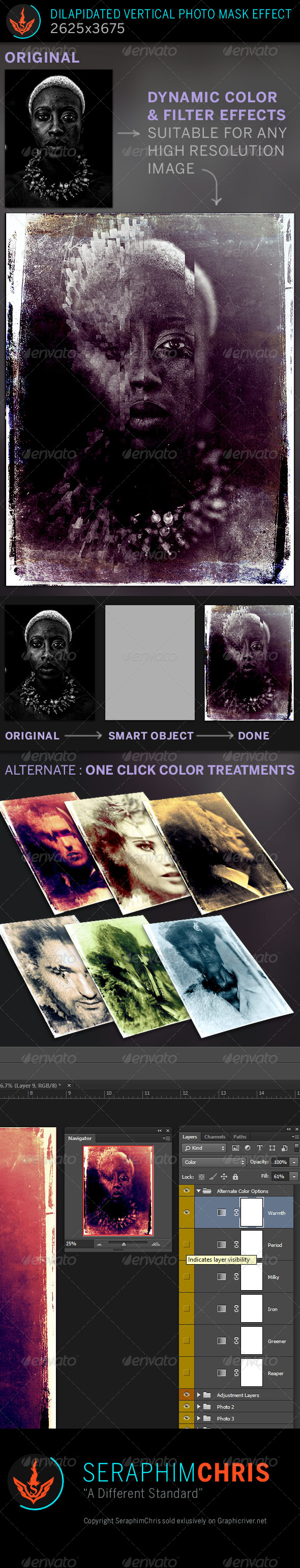 GraphicRiver Dilapidated Vertical Mask Photo Effect Template 7814450