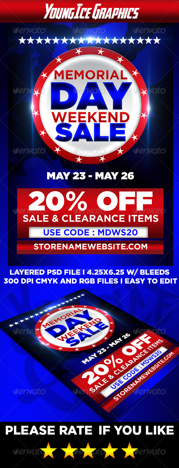 GraphicRiver Memorial Day Weekend Sale Flyer 7814886