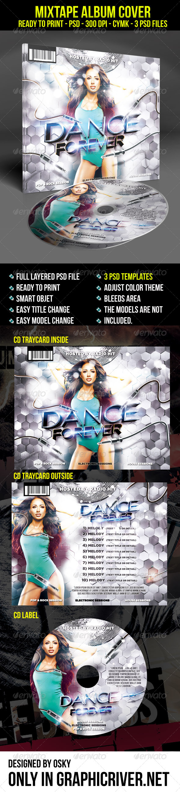 GraphicRiver Dance Forever Cd Cover Template 7815148