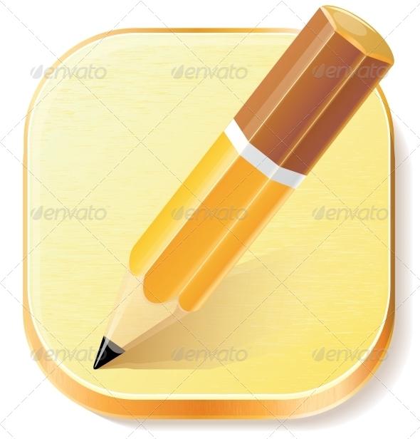 GraphicRiver Pencil Icon on Textured Plane 7815373