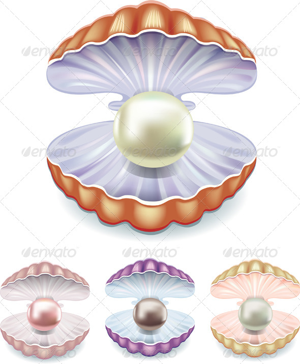 GraphicRiver Set of Pearls in Shells 7817268