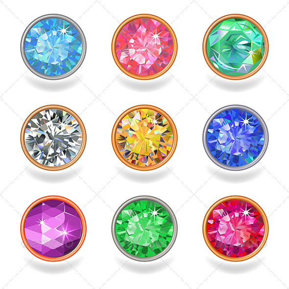 GraphicRiver Round Shape Top View Bezel Colored Gems 7817931