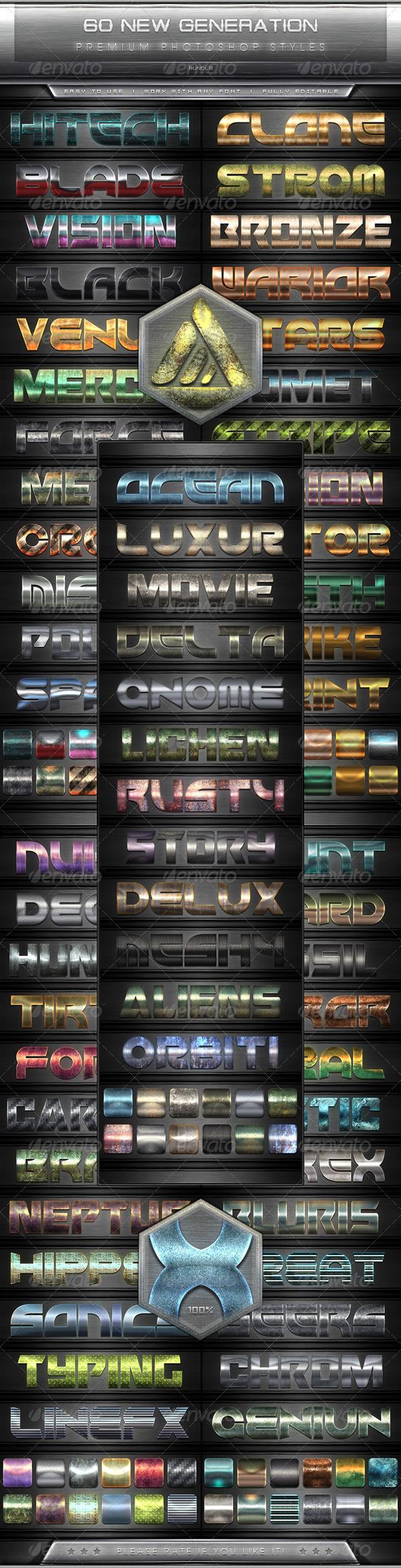 GraphicRiver 60 New Generation Text Efect Styles Vol.1-5 Bundle 7801857