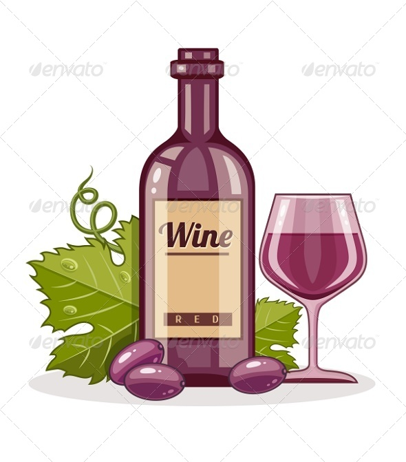GraphicRiver Red Wine Bottle and Full Glass Goblet of Drink 7819686
