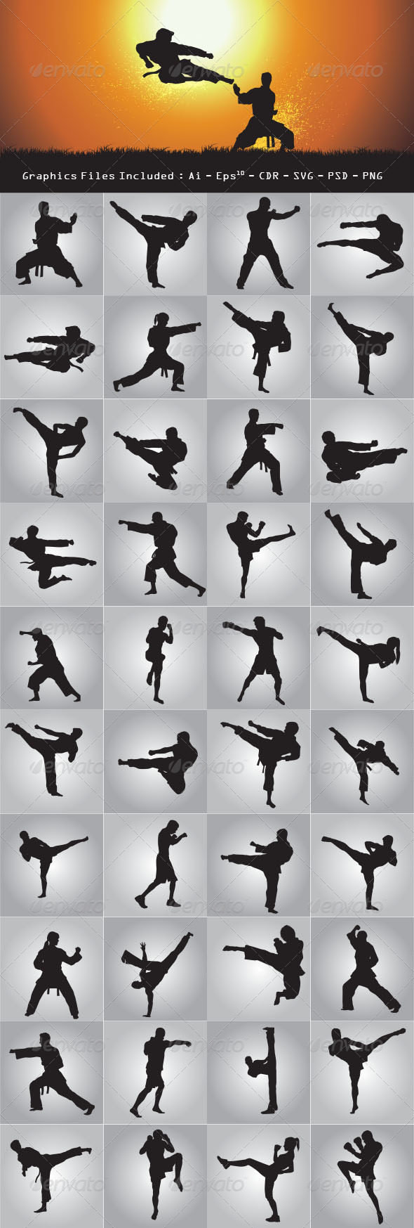 GraphicRiver Martial Art Silhouettes 7820369