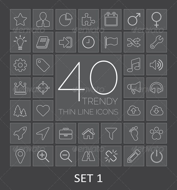 GraphicRiver 40 Trendy Thin Line Icons Set 1 7821686