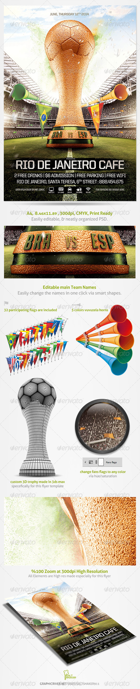GraphicRiver Brazil Soccer Cup Flyer 2014 Template 7764955