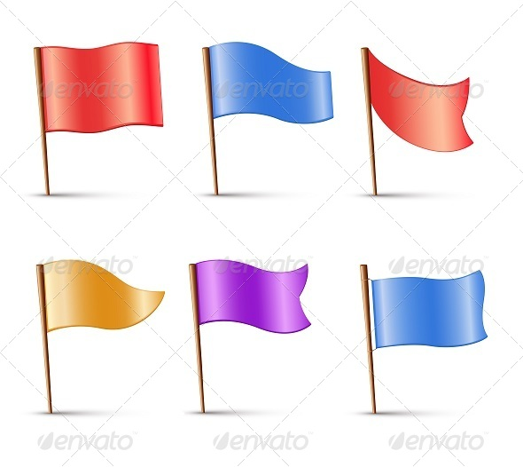 GraphicRiver Flags Set of Multi Colored Pins 7822595