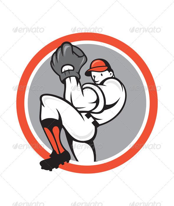 GraphicRiver Baseball Pitcher Circle Cartoon 7823330