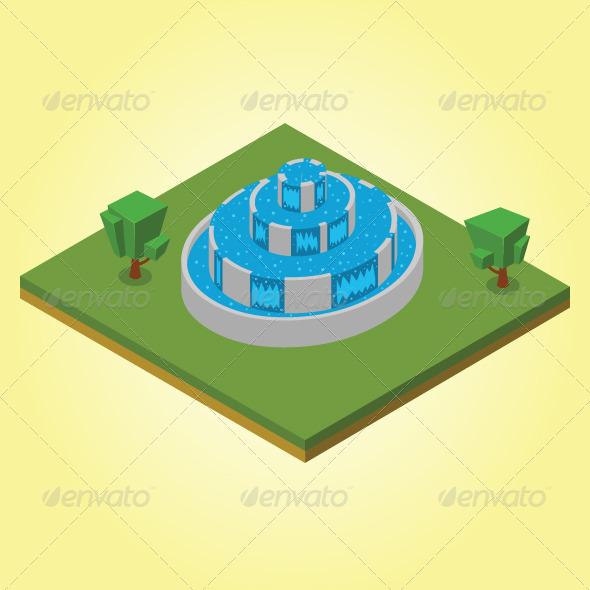 GraphicRiver Isometric Fountain 7823401
