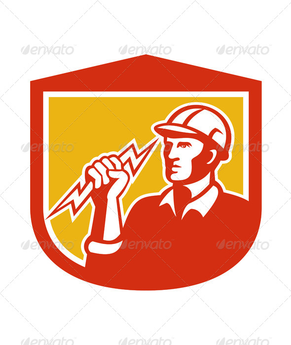 GraphicRiver Electrician with Lightning Bolt in Shield 7823403