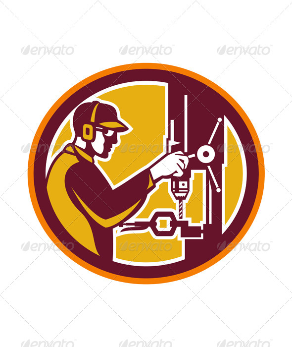 GraphicRiver Worker with Drill Press in Circle 7823411