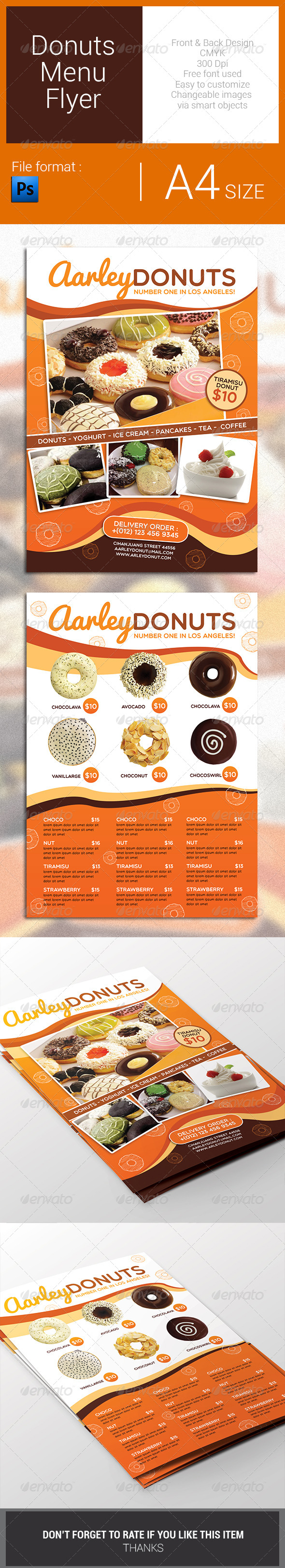 GraphicRiver Donuts Menu Flyer 7823541