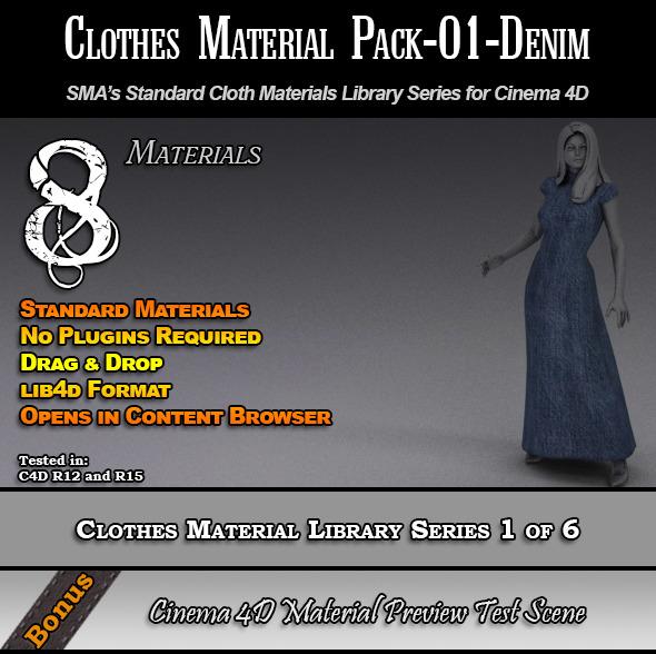 3DOcean Standard Clothes Material Pack-01-Denim for C4D 7824331