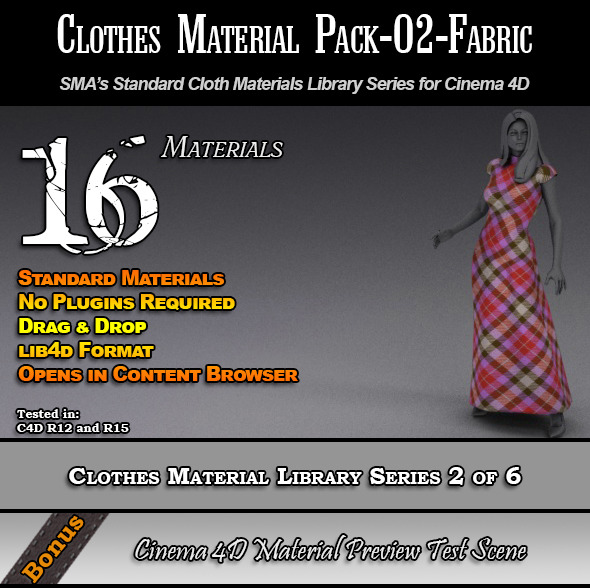 3DOcean Standard Clothes Material Pack-02-Fabric for C4D 7824342