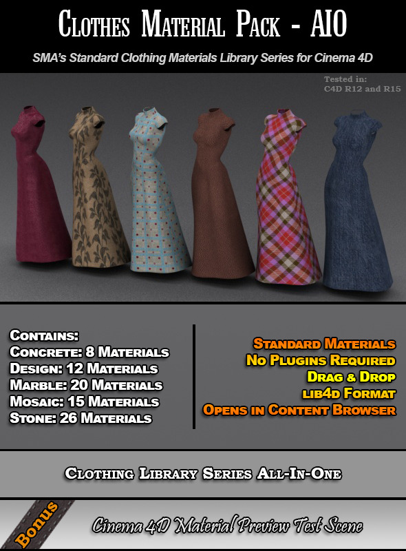 3DOcean Standard Clothes Material Pack-AIO for Cinema 4D 7824453