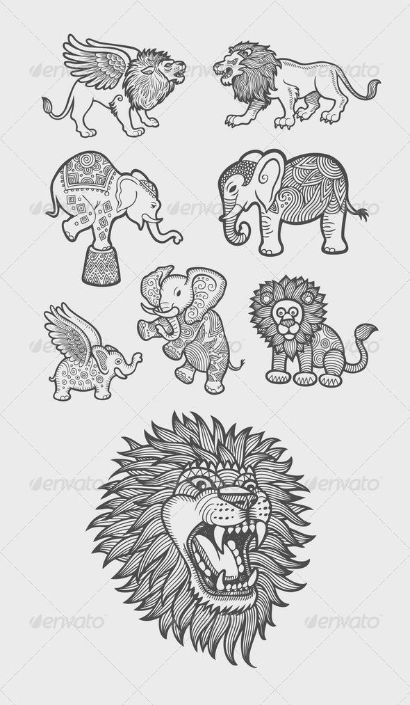 GraphicRiver Lion and Elephant Decoration Sketch 7824709