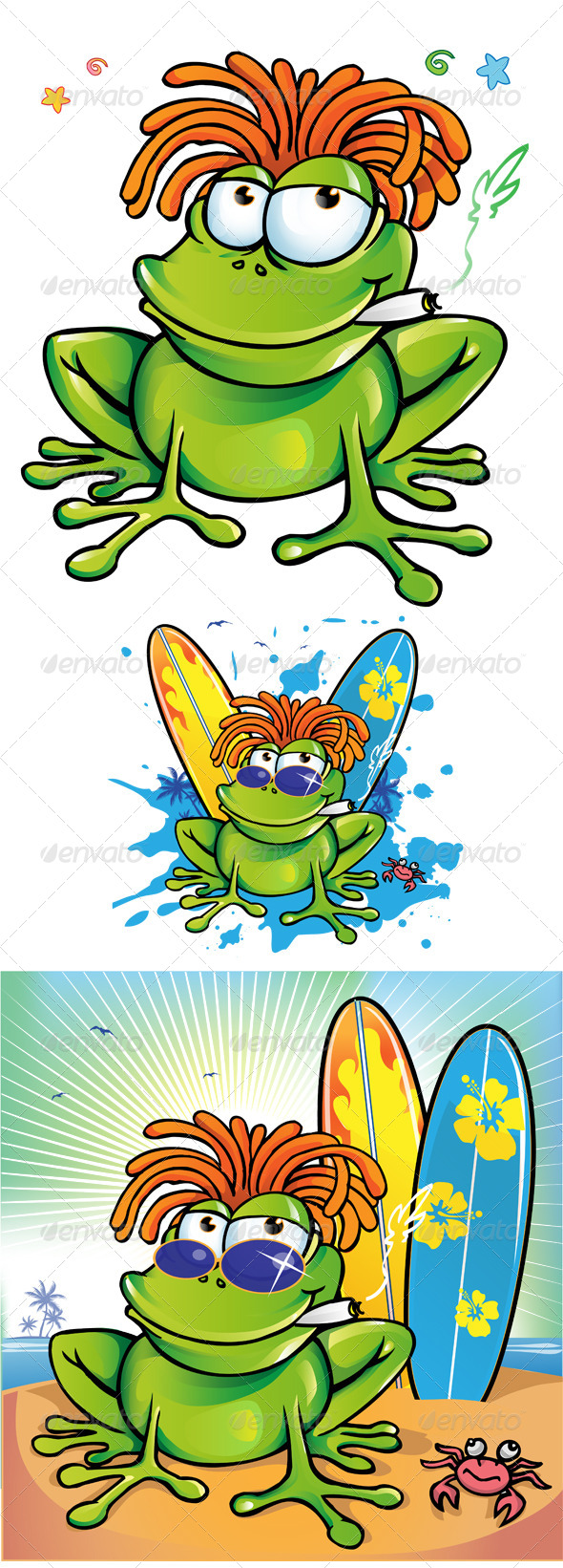 GraphicRiver Jamaican Frog Cartoon Collection 7824874