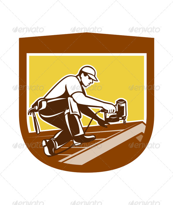 GraphicRiver Roofing Worker on Shield 7824928