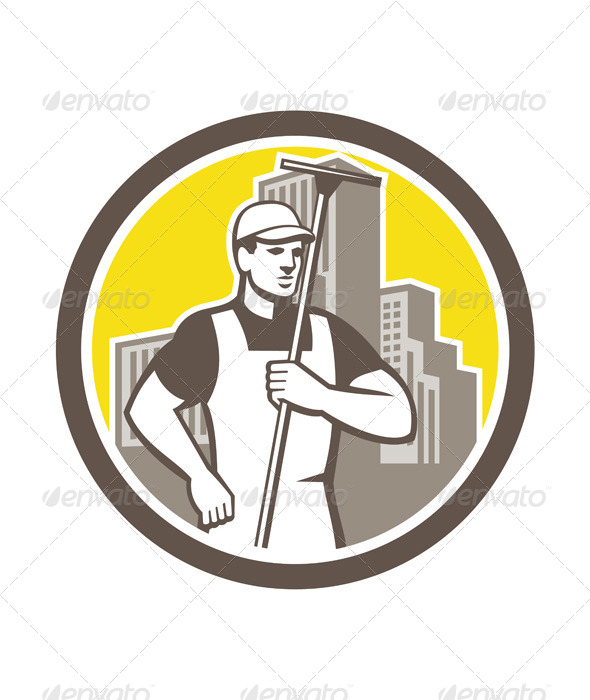 GraphicRiver Window Cleaning Worker in Circle 7824969