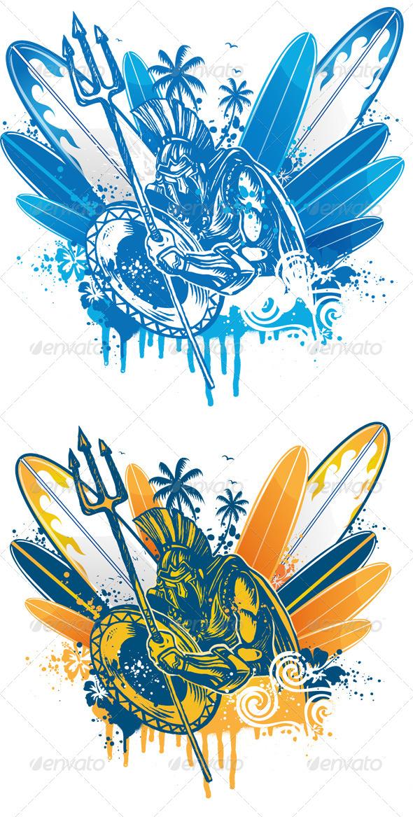 GraphicRiver Roman Warrior on Surfboard Background 7826162