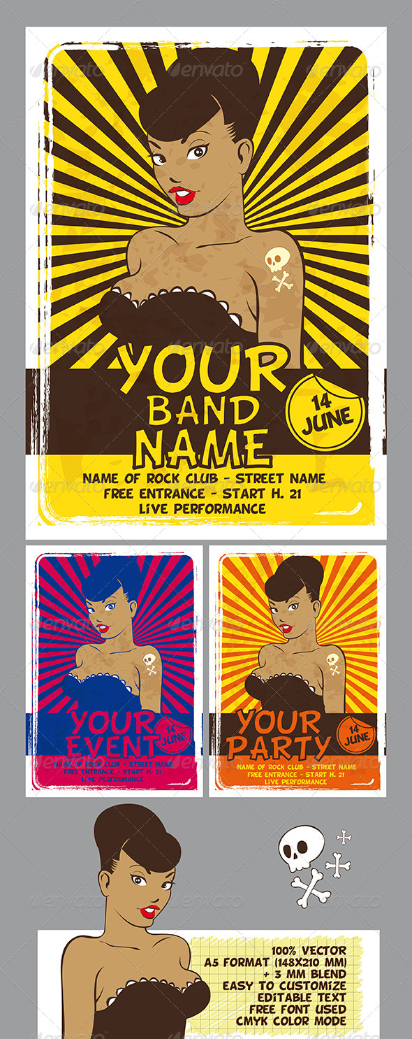 GraphicRiver Party Rock Band Flyer 7814115