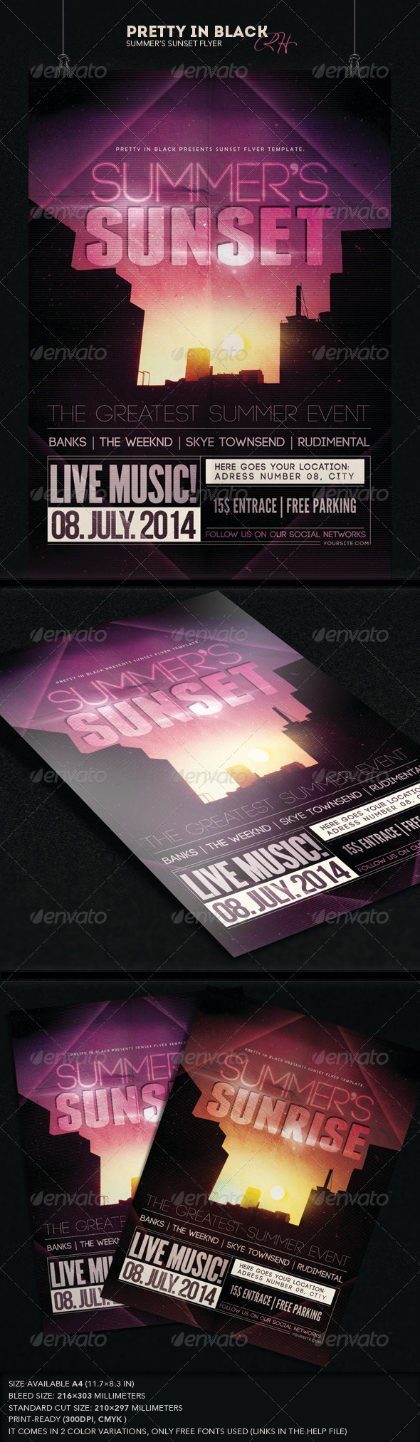 GraphicRiver Summer s Sunset Flyer 7828127